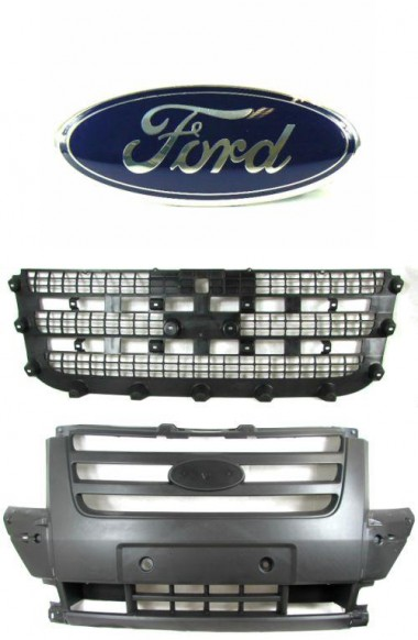 Ford Transit Mk7 Front Centre Bumper Grille with Mesh and Badge 2006-2013