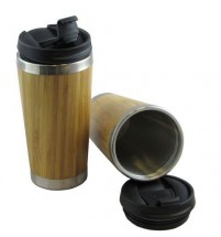 Bamboo Laminate Travel Coffee Mug Insulated Thermal Cup Flask Drink Through Lid