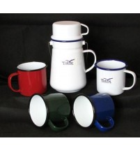 Porcelain Enamel Tea Billy Can Plus Coloured Tin Mug Cup Set; Outdoors & Camping
