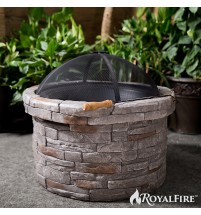 RoyalFire RFJC22818WBF-NS Round Wood Fibreglass Burning Fire Pit - Natural Stone