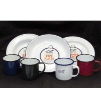 4 Person Enamel 24in Dinner Set: Pasta & Soup Bowl, Plate & Coloured Tin Mug Cup
