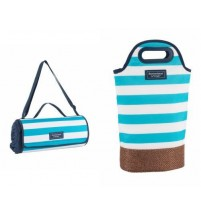 Twin Bottle Cool Carrier Insulated 2 Bottle Wine Cooler With Matching Picnic Rug