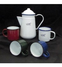 Porcelain Enamel Coffee Pot Metal Coloured Tin Mug Cup Set for Outdoors Camping